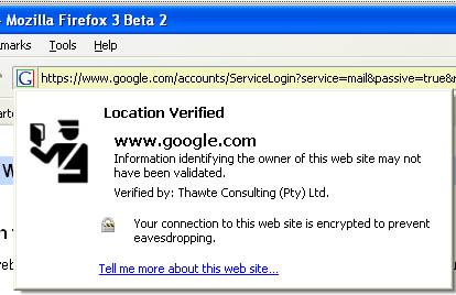 Firefox 3 Beta 2 screenshot- location bar favicon