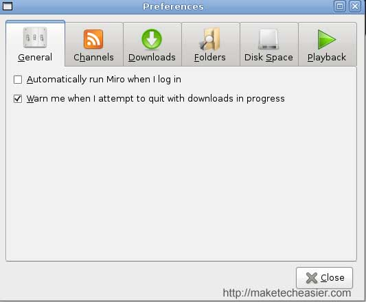 Miro Configuring: General option
