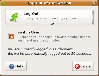 Clicking on the Quit button on the top-right panel only gives you options to Log out or switch user
