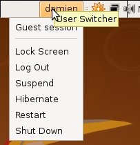 The user session button is where all the functions are integrated in one place. You can easily use to another user, Log out, restart, suspend, hibernate, shut down