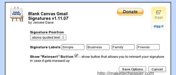 Gmail signature options