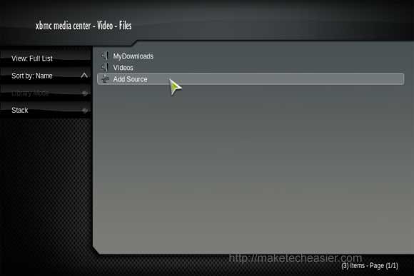 XBMC video menu
