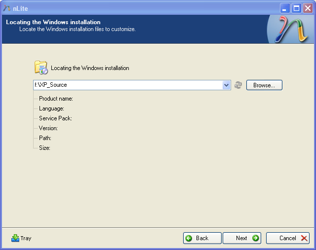 select XP source location