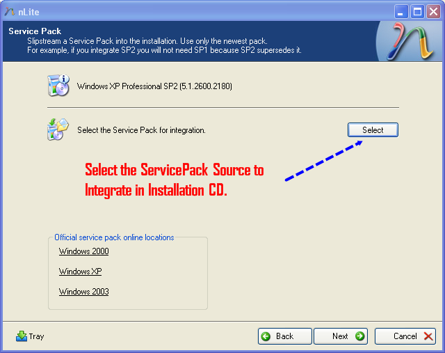 Select Service Pack Location