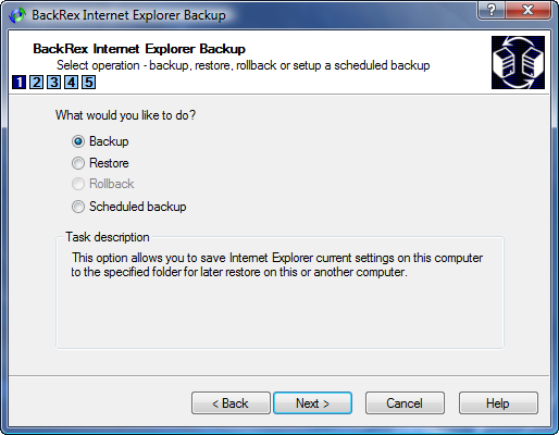 IE Backup Wizard Task Selection