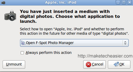 Open iPod touch with F-spot