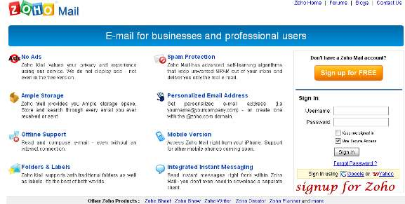 Sign up for Zoho mail