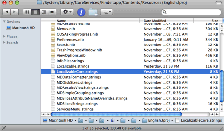 LocalizableCore.strings is located in the Finder.app package contents.