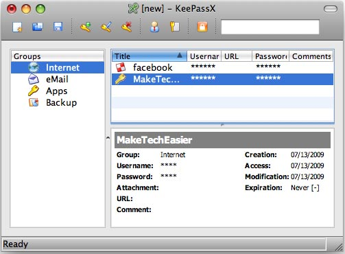The main window of KeyPassX.
