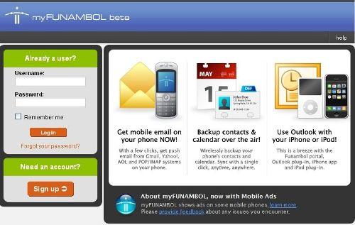 The MyFunambol login screen