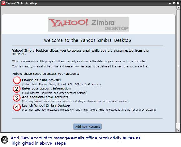 Add account in Zimbra