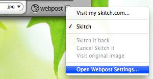 Skitch - Open Webpost settings