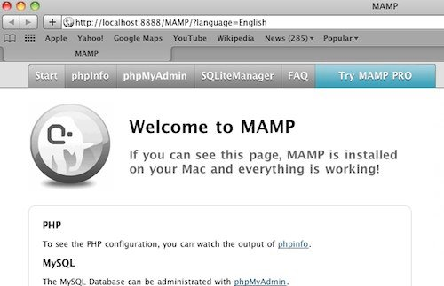 mamp welcome page
