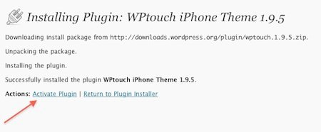 Activate WPtouch