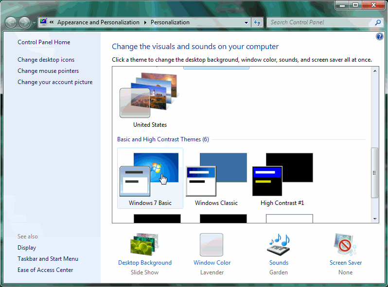 windows 7 disable aero themes