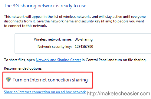 3g-sharing turn on internet connection sharing
