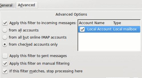 kmail filters advanced tab