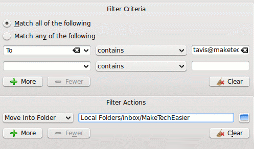 kmail filter criteria