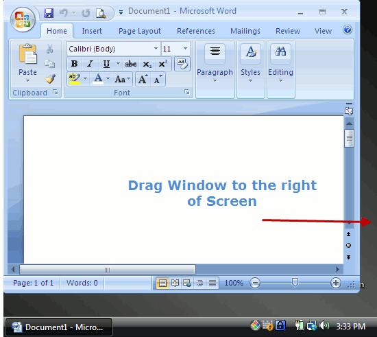 Drag Program Window to the edge of Screen