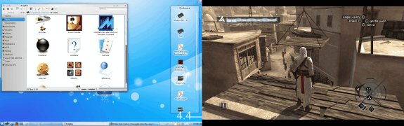 Assassin's Creed in Wine on a dual-monitor Linux system