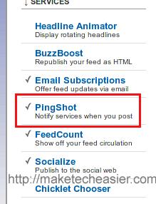 Pingshot option in Feedburner