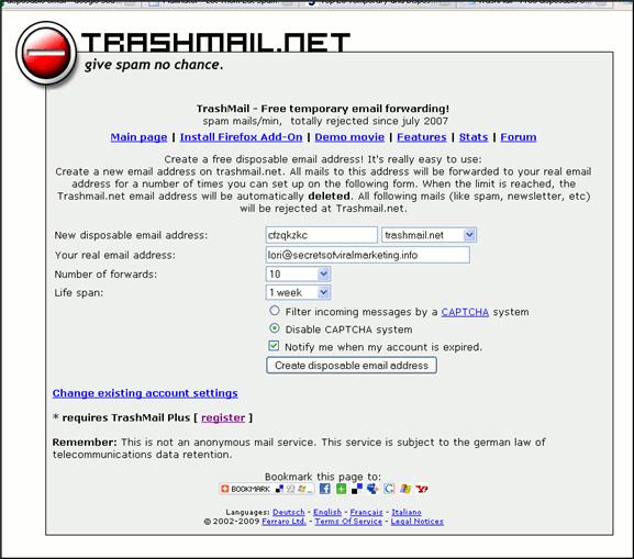 Trashmail.net - Main screen