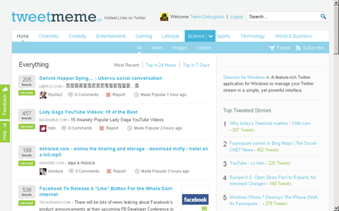 t vs t - tweetmeme homepage