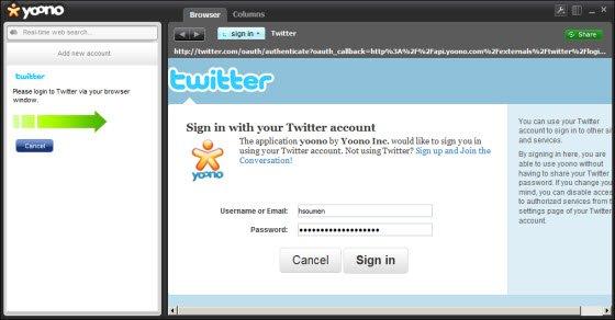 Browser window in Yoono Desktop