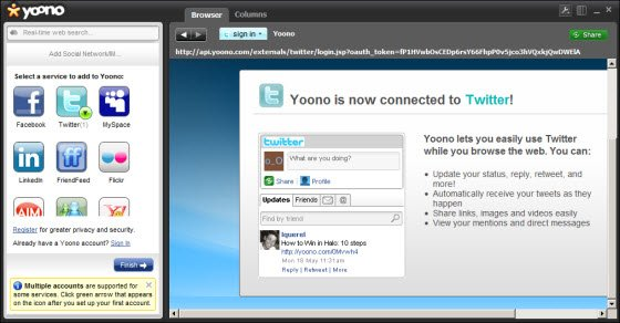 Connect Twitter with Yoono desktop