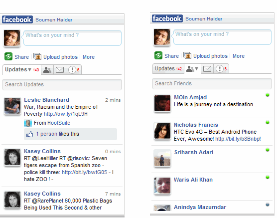 Read updates of Friens in Yoono desktop