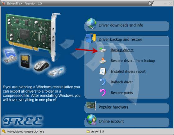 Backup Installed Windows Drivers using Drivermax
