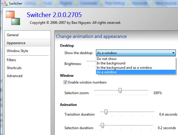 Show desktop with Switched Windows