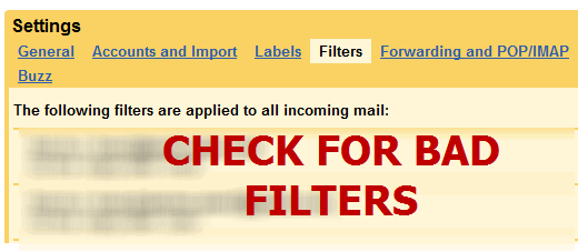 Check for unknown Gmail filters