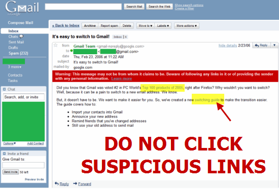 Suspicious links in Gmail account