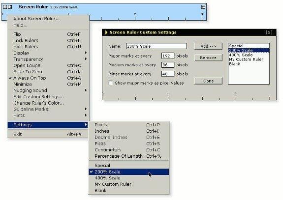 screen ruler - menu