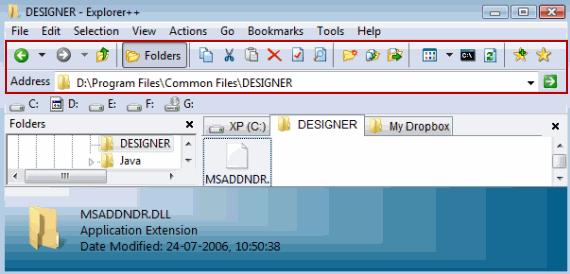 Explorer Options toolbar