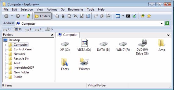 Interface of Explorer ++