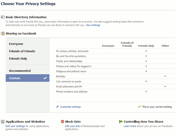 fb - new privacy settings