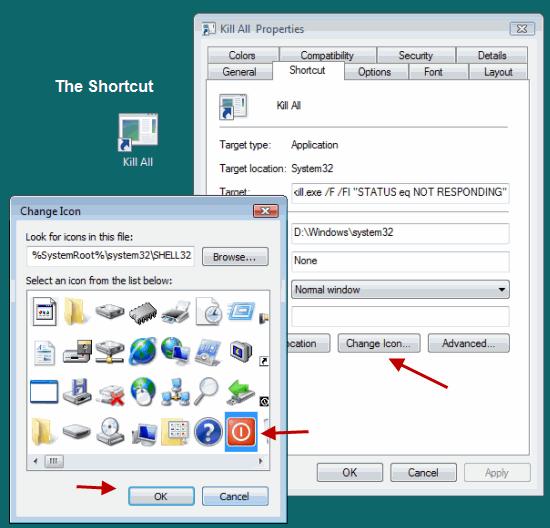 Choose Icon shortcut