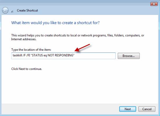 Enter the address of the desktop shortcut