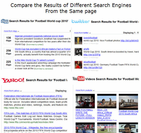 Compare Search results of Different Search Engines