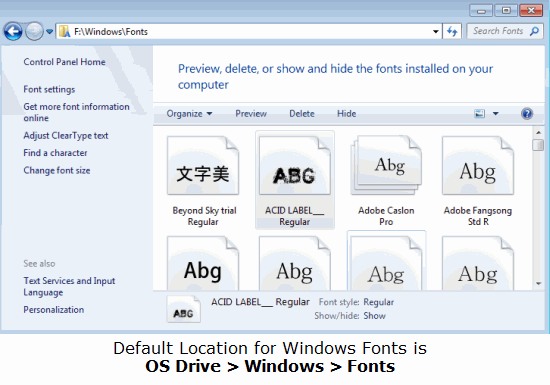 Default Location of Windows Fonts