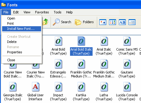 Install New fonts in Windows XP