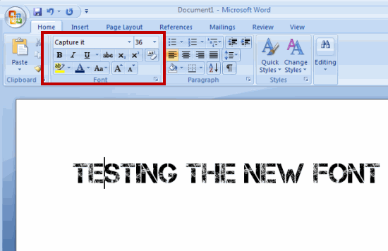 Test the New Installed font in Windows7 and Windows Vista