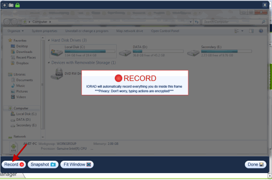 Start Application Recording IORAD