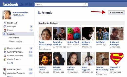 Edit Facebook Friends