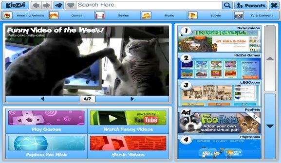 KidZui 2 main screen