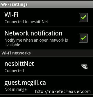 Wifi settings