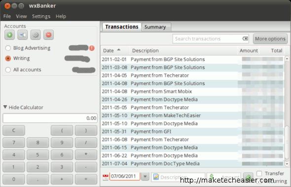Transactions in wxBanker