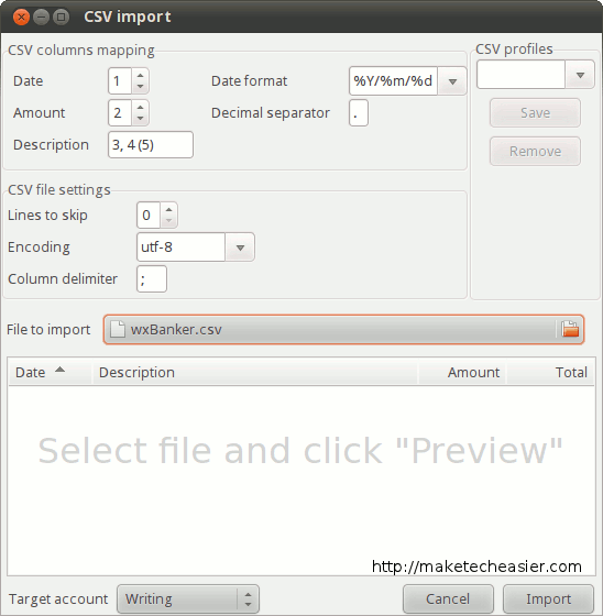 Importing a CSV file